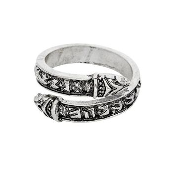 Norse Viking Dragon Snake Ring Viking Runes Amulet Men Adjustable Ring Ancient Silver Rose gold Animal Vikings mythology Jewelry