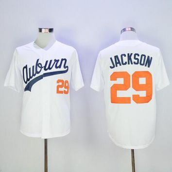 Mens #29 Bo Jackson Baseball Jersey Auburn Tigers Throwback VINTAGE University Baseball Jersey Best Quality White Fast Shipping