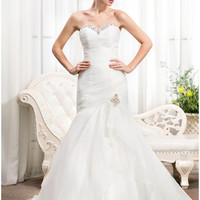 Trumpet/Mermaid Sweetheart Court Train Organza Wedding Dress With Ruffle Beading Sequins - MADE TO ORDER - Brides & Bridesmaids - Wedding, Bridal, Prom, Formal Gown