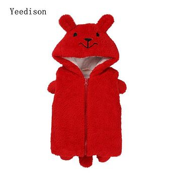 Yeedison 2018 New Arctic velvet children's clothing boys and girls bear sleeveless hooded vest cartoon bear children's jacket