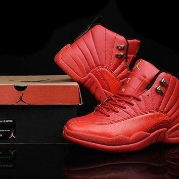 PEAPONVX Jacklish 2016 New Air Jordans 12 Custom All Red And Gold For Sale Online