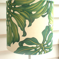 Tropical green fabric lampshade - large ceiling, table or floor lampshade