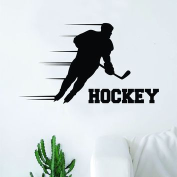 Hockey Player V5 Wall Decal Sticker Vinyl Art Bedroom Room Home Decor Quote Kids Teen Baby Boy Girl Nursery School Fitness Inspirational Ice Skate NHL