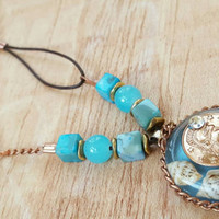 Coin Necklace - Light Blue and Copper - Good Fortune Jewelry - Lucky Coin Necklace - Resin Pendant - gift for a friend - Good Luck gift