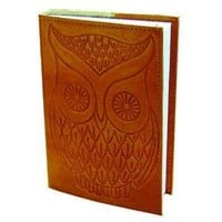 "Owl - Leather Writing Journal - Blank - Hand Embossed 4"" x 5.75"""