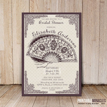Bridal shower invitation / Digital printable bridal party invites with vintage lace fan / Wedding shower invitation