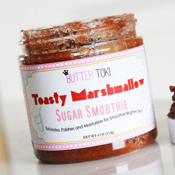 Toasted Marshmallow Scented Sugar Body Scrub 4oz - Handmade Sugar Scrub - Marshmallow Scrub