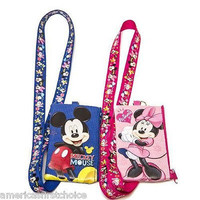 DISNEY MINNIE+MICKEY MOUSE LANYARDS WITH DETACHABLE COIN POUCH/WALLET/PURSE-NEW!