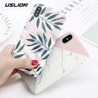 USLION Marble Phone Case For iPhone XS Max XR X Cherry Rose Floral Camellia Flower Case For iPhone 7 8 6 6S Plus Hard PC Cover
