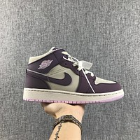 Air Jordan 1 Retro High OG White Purple Pink GS Sneakers