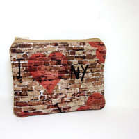 Small Zipper Pouch  I Love New York by handjstarcreations on Etsy