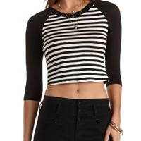 Black Combo Striped Raglan Crop Top by Charlotte Russe