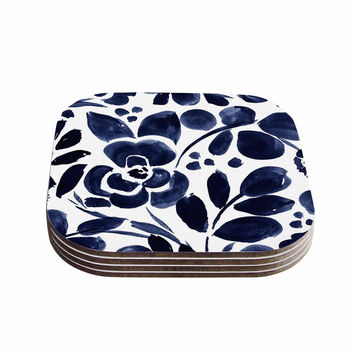 "Crystal Walen ""Watercolor Floral"" - Navy Painting Coasters (Set of 4)"