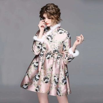 2018 New Spring Vintage Jacquard Panda Mini Dress Women Elegant Chinese Style Stand Collar Button Loose Cheongsam Dresses