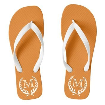 Orange Wreath Frame Monogram Flip Flops