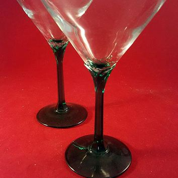 Emerald Green Stem Martini Glasses