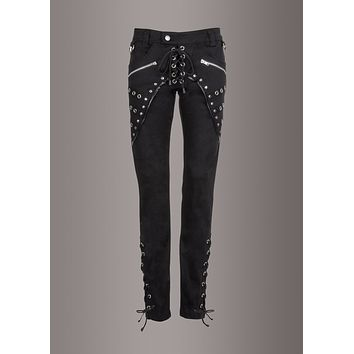 Razia Black Skinny Fit Pants with Lacing, Zippers and Studs