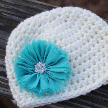 Crochet baby hat, newborn girl coming home outfit, Newborn first photo shoot hat,  Baby girl hat, Photo Prop, Ivory hat with flower