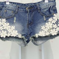 Lace summer hip denim shorts from Moonlightgirl