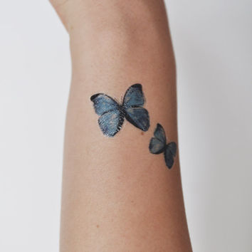 Butterfly Temporary Tattoo, Tattoo Temporary, Blue, Nature Art, Butterfly Illustration, Birthday Present, Birthday Gift, Gift Ideas