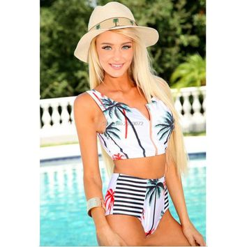 Aipbunny coconut print Beach Bikini 2017 New Sexy Swimwear Women Mayo Bikini Set Bathing Suit Push Up Top high Waist Swimsuit