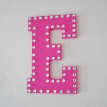 """BLING WALL LETTERS-  Decorative Handpainted Letters, Initials or Words w/ Clear Rhinestones - 8"""""""