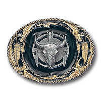 Buffalo Skull/Feathers  Vivatone Belt Buckle
