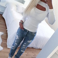 Hollow Out Round-neck Long Sleeve T-shirts Bottoming Shirt [31299960858]