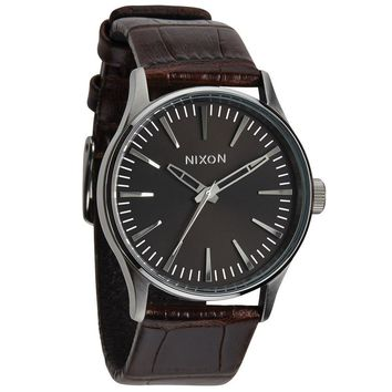 Nixon The Sentry 38 Leather Brown Gator Watch