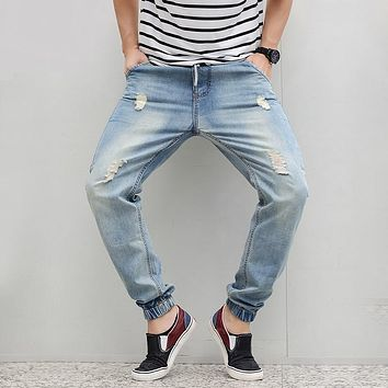 Men Harem Light Blue Denim Joggers 2017 New Fashion Elastic Waist Ripped Jeans Jogger Denim Pants Distressed Free Shipping