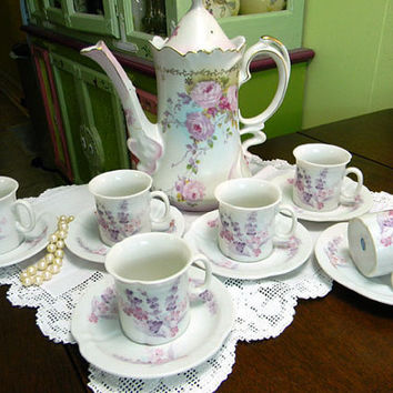 Antique KPM Chocolate Pot or Shabby Teapot  - Plus 6 Demi Japanese cups and Saucers 9128