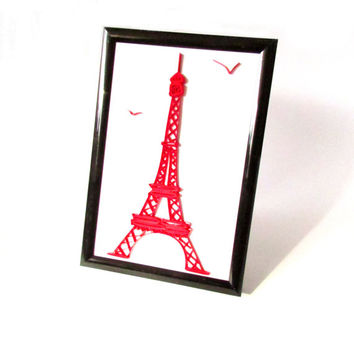The Eiffel Tower Quilling Miniature, Quilled Eiffel Tower Collage, Paris Quilling Miniature