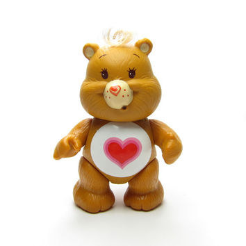 Tenderheart Bear Poseable Vintage Care Bears Toy Figurine Brown with Red Heart on Tummy