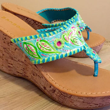 Painted sandals inspired by the look of Jack Rogers wedge style and painted in a lilly pulitzer like design!