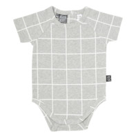 Kipp Kids Short Sleeve Onesuit in Grey/White Check