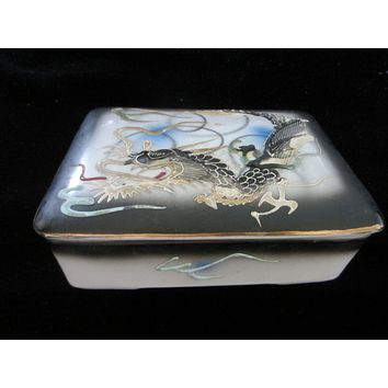 Oriental Hand Painted Majolica Porcelain Covered Box Decorated Dragon