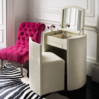 Round Faux Dressing Table & Stool
