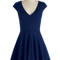 ModCloth Mid-length Cap Sleeves A-line Curtsy for Yourself Dress in Cobalt