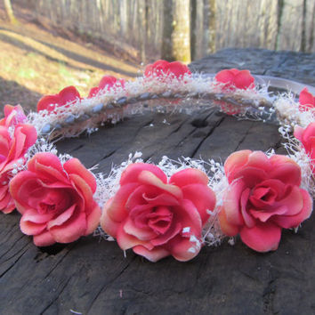 Coral, pink, rose, crown, Headband, Halo, bridal, headpiece, flower, girl, bridesmaid, rustic,  baby's, breath, shower child, peach , light