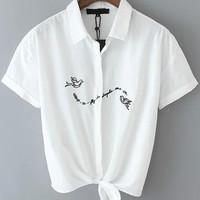White Short Sleeve Embroidered Shirt Collar Cropped Blouse
