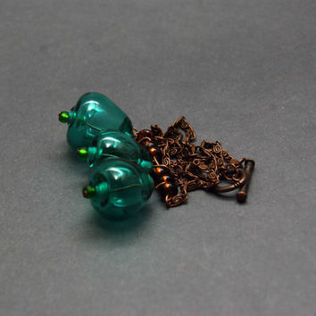 Handmade lampwork necklace, OOAK, three beads, drop shaped, teal, turquoise, sea foam, green, copper, seed beads, brown, original jewelry