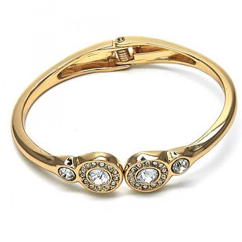 Gold Layered 07.307.0002.05 Individual Bangle, with White Crystal, Polished Finish, Golden Tone (04 MM Thickness, Size 5 - 2.50 Diameter)