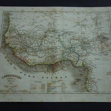 Western Africa vintage map Original 1850 detailed old antique print of west Africa Vintage colonial maps Nigeria Senegal Ghana Ivory coast