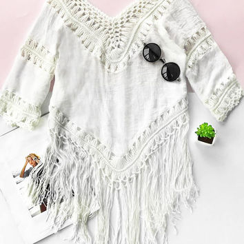 Cupshe Smiling Cloud Crochet Cover-up