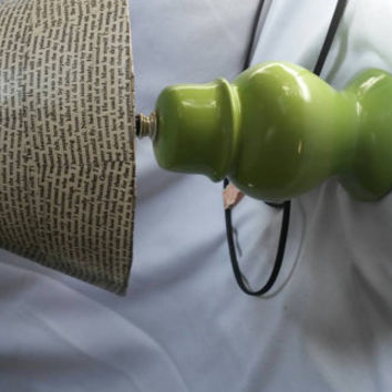 Upcycled, full functioning green lamp with literary lamp shade