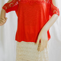 Holy Lace Express Orange Top - XS