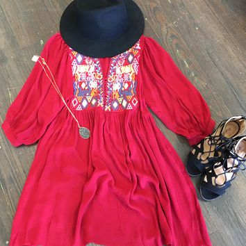 Sweet Pea Embroidered Peasant Dress