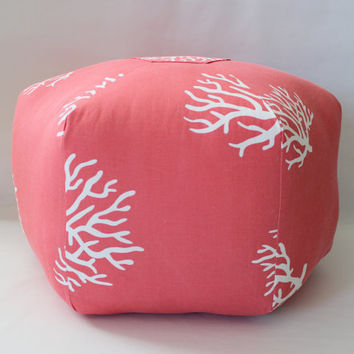 "READY TO SHIP - 24"" Ottoman Pouf Floor Pillow Coral"