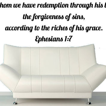 Bible Stickers - Ephesians 1:7 - In Whom We Have Redemption Through His Blood