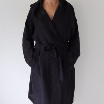 Linen robe line bath robe morning dress  softened made by mooshop